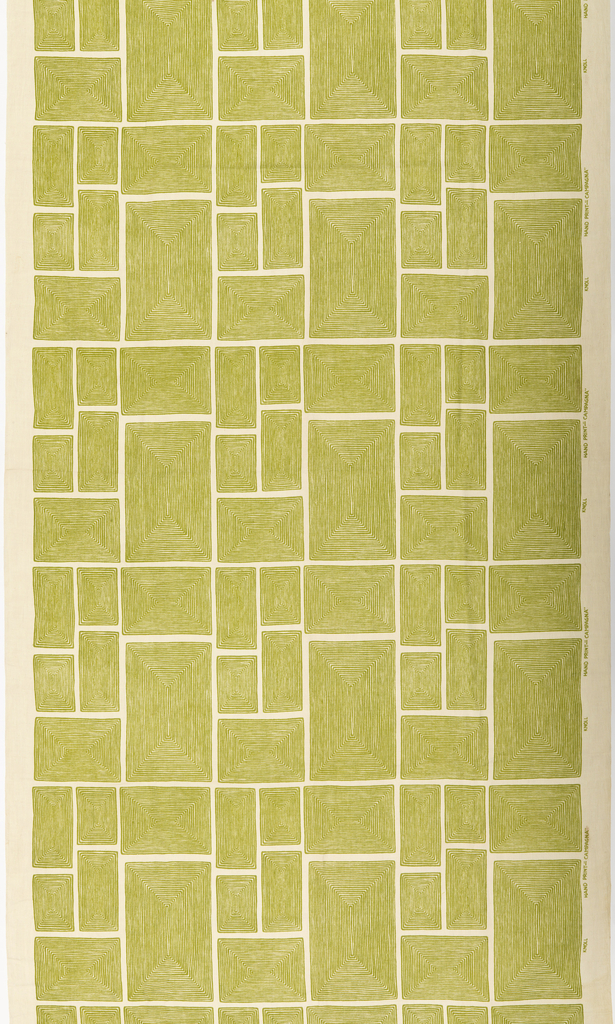 Length of printed linen with a grid of variously sized green rectangles composed of concentric lines.