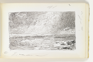 Recto: Rough sketch of ocean. Detailed sky with sun coming through clouds. Verso: Small, quick, abstract sketch, possibly of a leg.