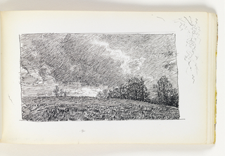 View up a clear hillside with grass with trees in distance at right. Additional trees farther back on left-center horizon. Dark, cloud-filled sky. Miscellaneous pen strokes in top right corner of sheet.