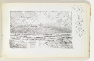 Beach in left foreground with small, calm waves coming onto shore. Miscellaneous pen strokes in margin at top right corner of sheet.
