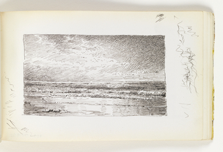 In foreground, small, calm waves coming onto shore. Miscellaneous pen strokes in margin on bottom left and on right.