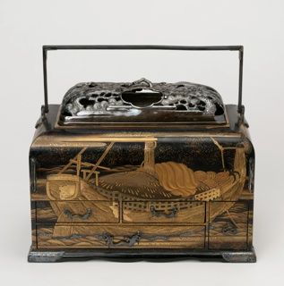 Rectangular black, gold and red lacquered box (a) with hinged, rectangular silver handle; rectangular domed cover (b) of pierced and molded silver, depicting two flying cranes among pine trees, small loop handle in form of branch at top; deep, rectangular brass tray under cover, set into top of box.  Four drawers (d/g) in front of box; one drawer (h) in right side. Continuous lacquer decoration around box showing loaded boat floating on waves, floating dingy, cranes with red crests flying among clouds over water and pine branches.  Drawer pulls in wave motifs, hinged pipe hooks on left and right front, and corner guards at base, all of incised silver.