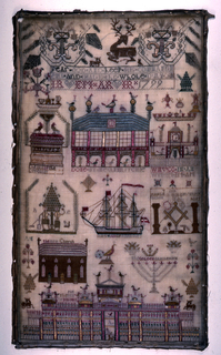 """Bands of pattern and isolated motifs including patriotic, religious, and masonic motifs.  """"Fear god and keep his commandments and that is the whole duty.""""  """"The ark of the covenant.""""  Undecipherable.  Ship """"The James and Ann of Montrose."""""""