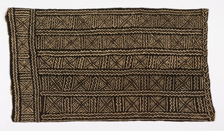 A woman's wrapper consisting of eight strips, each  4 1/2 inches wide, sewn together to make a panel.  Columns of pattern are separated by zig-zag borders. The pattern bands are divided into squares of concentric diamonds with criss-cross diagonal lines.The design is reserved in white on a dyed black ground.