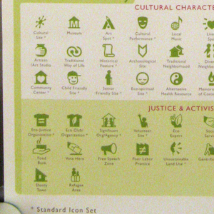 "Recto contains map displaying icon system, subdivided into three categories: sustainable living, nature, culture & society.  These are further subdivided into four categories each.  Text in English.  Verso is titled ""Green Map ® Icons / Version 3""."