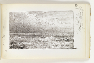 View of choppy, dark ocean with many breaking waves under a dark sky with dramatic clouds. Miscellaneous pen strokes in margin at right of image.