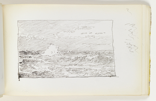 Quick, light sketch of choppy waves; miscellaneous pen strokes in margin to right of image.
