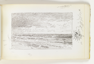 Light, serene beach with small waves coming onto shore. In right margin, a small abstract doodle, possibly a nautilus shell or study of a creating wave.