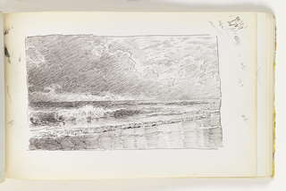 Beach in foreground with large breaking waves. Dark sky with towering clouds. Miscellaneous pen strokes in margin at top right corner, ink smudges in margin at top left corner.
