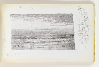 Beach in foreground with several rown of small waves coming onto shore, with dramatic clouds in sky. Miscellaneous pen strokes in margins to left, right, top and bottom of image.