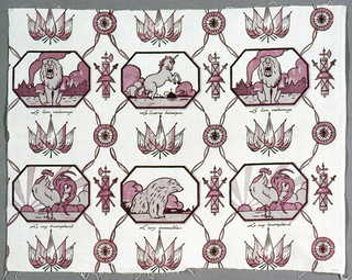 """Commemorative textile on an ivory ground with a design printed in taupe and maroon. Two horizontal rows of three vignettes depicting a lion, unicorn, cock and bear. Between the vignettes are crossed flags and groups of arms. Vignettes are labeled: """"Le lion valeureux,"""" La licorne heroique,"""" """"Le coq triomphant,"""" and """"L'ours invincible."""""""