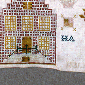 Alphabets, lettering, and crowned monograms in top half; isolated floral motifs and house with stepped roof at the bottom.
