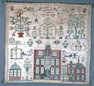 Square sampler with a large brick building, a school?, at center bottom, flanked by smaller brick structures. Adam and Eve in center top medallion, flanked by flowering trees, spot motifs. 1794 IEC at top.