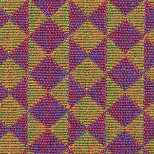 Double cloth in a purple and orange striped pattern of diamonds and triangles. The warp threads are green and red and the weft threads are orange and blue. The red warp and blue weft intersect and appear as purple while the green warp and orange weft intersect and appear as orange.