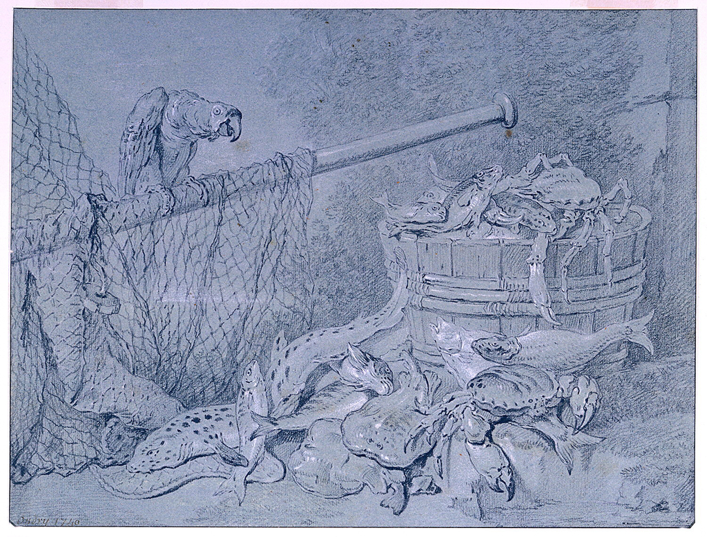 At right, a large wooden tub is heaped with fish and crab; other fish are scattered on the ground in front of the tub.  At left, a parrot is perched on a mast which is draped with a fish net.  Vegetation in background.