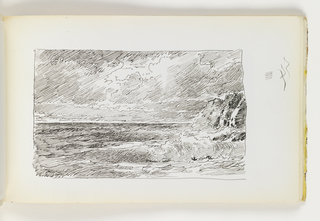 Sketchbook Folio, Waves Crashing in front of Distant Cliffs