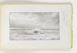 View of ocean done in small, delicate cross-hatching. In center, large wave breaks over single rock. On horizon at left (possible) ships in the distance. Miscellaneous pen strokes in margin to right of image.