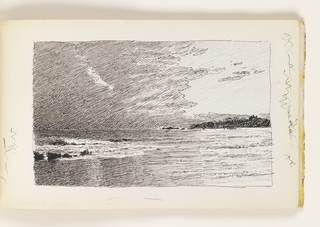 Sketchbook Folio, Beach Scene with Rocks and Distant Cliffs