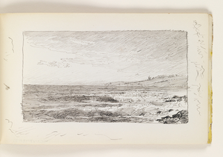 Sketchbook Folio, Waves on Rocks in front of Distant Hill with Windmill
