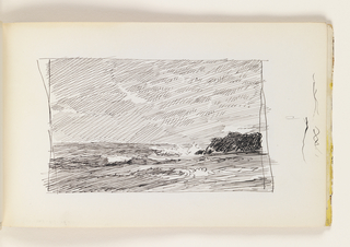 Quick sketch of choppy ocean with large black rock at right. Miscellaneous pen strokes in margin to right of image.