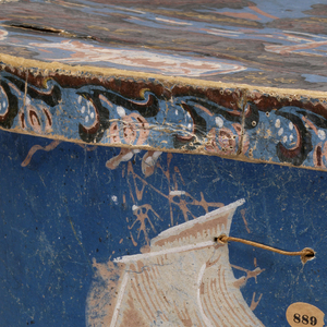 Marine view; ships and lighthouse on rolling sea. Printed in pink, white and brown on a blue ground. Legend: Sandy-Hook. Cover, which does not belong to box, has cow and ruins.