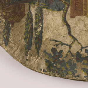 """Pasteboard bandbox lid. Two pieced fragments of """"Grand Canal"""" paper, pasted bottoms together, center top. Bottom of letters visible at one edge. Mounted figure on arch-supported stone bridge, house, boats, oarsmen, in colors of brick red, blue-green, yellow, on white background. Rim: Olive green on white; top lined with small pattern flower wallpaper. Sprig of roses, morning glories on white background with pale blue fill pattern."""