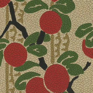 Flat, graphic red oranges/apples hanging from branches with rounded forest-green leaves. A fringed, taupe stripe and a fringed, scalloped taupe stripe weaves vertically in-between the leaves and branches. Off-white background on pebble embossed paper.