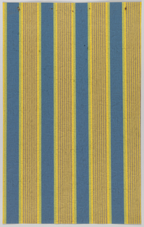 Narrow, gray/brown stripes on top of thicker yellow stripes, with a blue background. The paper is plaster embossed.
