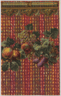 Swag of cornucopia of flowers and fruit hanging below a green and ochre striped border with a hanging fleur-de-lis motif. The background is a plaid-like motif in pink, orange, green, and brown.