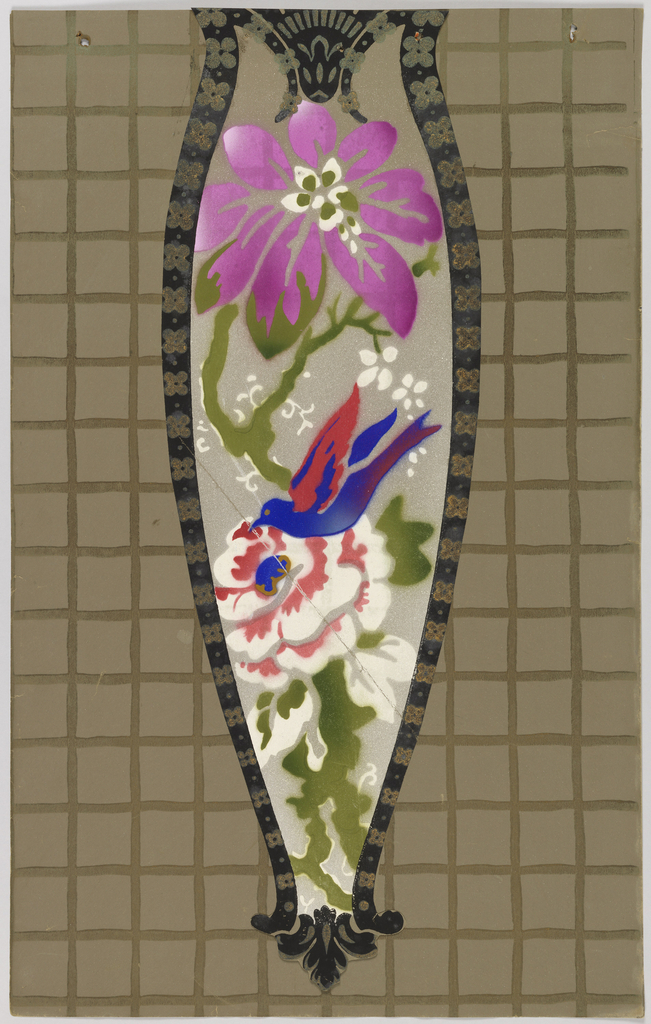 Irregular shaped cut-out medallion with bird alighted on flower. Another different flower above, vining tendrils. Printed in purple, white, blue and red on airbrushed light taupe ground.