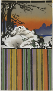 Wide frieze with silhouette of hunter in forest and game, blue skyline against orange/taupe sky in background, snowy white hills in foreground.