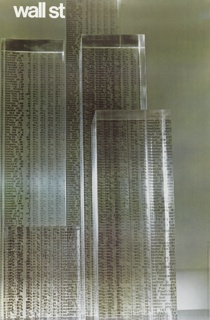 "Photograph of buildings made out of transparent blocks of glass or plastic with stock figures printed all over them. Text in top right reads ""wall st"" in white."