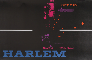 "Black poster. In top half, a high-contrast street scene of Harlem in pink, orange and purple, with the marquee of the Apollo Theater at left. Along right side of poster, large blue text reads ""HARLEM"" with smaller text, in pink, which reads ""New York 125th Street."""