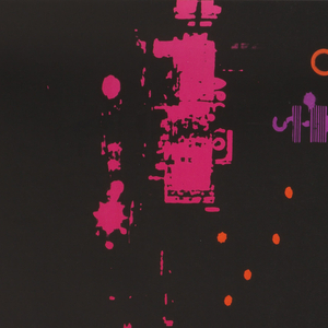 """Black poster. In top half, a high-contrast street scene of Harlem in pink, orange and purple, with the marquee of the Apollo Theater at left. Along right side of poster, large blue text reads """"HARLEM"""" with smaller text, in pink, which reads """"New York 125th Street."""""""