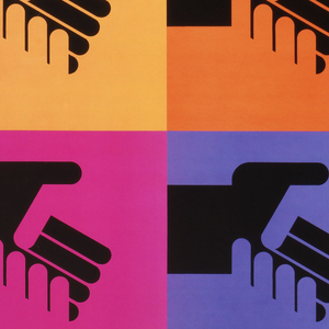 "Top two-thirds of poster is a grid of colored squares in yellow, orange, dark orange, red, magenta, purple, blue, teal and green (from left to right, top to bottom). Within each square is a black hand embracing a hand the same color as the square. Bottom third of poster is white, with a logo of two houses in the bottom left corner and text in black along the bottom which reads: ""partnership for change new york model cities"""