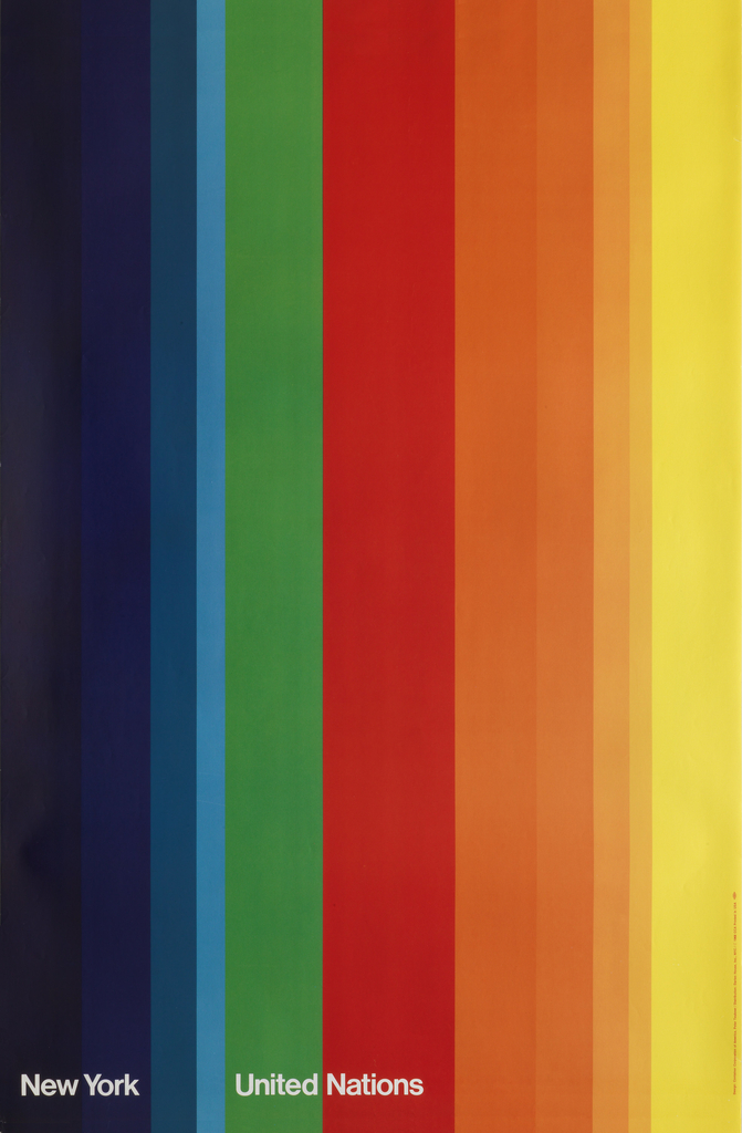 "Entire poster covered in vertical stripes in rainbow from left to right: Deep violet, violet, teal, blue, green, red, orange (in four shades) and yellow. Text along bottom in white reads ""New York United Nations"""