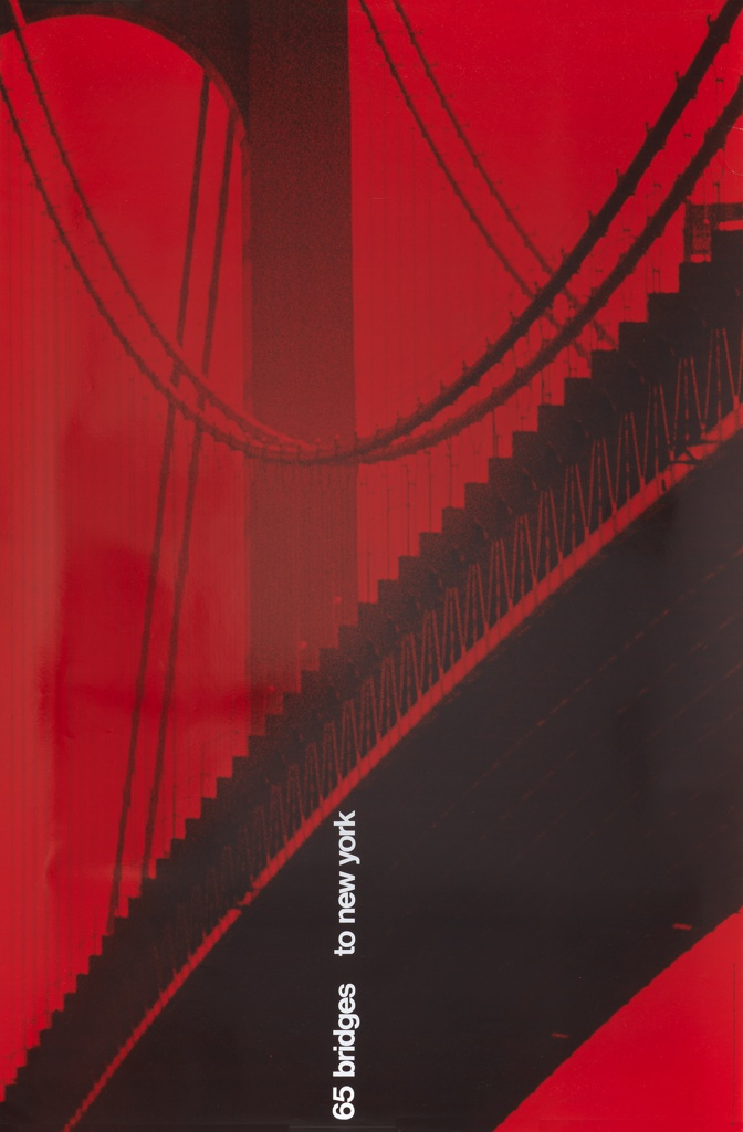 """Photograph of a section of a large suspension bridge, possibly Verrazano bridge, with red overlay. Text bottom center, in white vertically oriented: """"65 bridges to new york."""""""