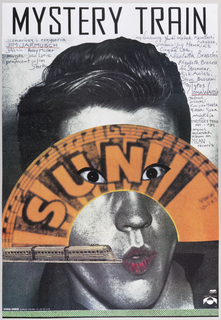 "The background is a black-and-white photograph of a young man feigning surprise, against a white wall. Overlaid midway is a cut-out of a black-and-orange fan-shaped diagram of piano keys, music notation, the printed words ""SUN"", and two cut-outs in place of the man's eyes, transforming them into slits. At three-quarters, lower left, is an image of a train, from a newspaper or book, appearing to run into the young man's mouth, which is colored lipstick-red. At the top is the inscription ""MYSTERY TRAIN"", followed by a listing of the credits for the making of this film."