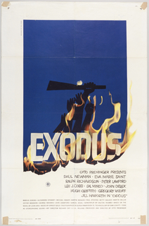 "On white ground, an indigo sky with the word ""EXODUS"" at bottom. From behind ""EXODUS"" emerge flames, and above the text appear reaching arms bearing a machete, appearing to reach the midnight moon. Below, the credits: OTTO PREMINGER PRESENTS / PAUL NEWMAN - EVA MARIE SAINT / RALPH RICHARDSON - PETER LAWFORD / LEE J. COBB / SAL MINEO - JOHN DEREK / HUGH GRIFFITH - GREGORY RATOFF / JILL HAWORTH IN ""EXODUS"", with further credits in smaller type."