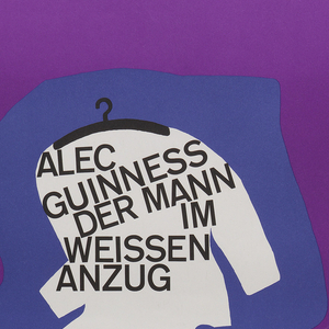 "On yellow background, concentric shapes in red, violet, blue, and white, gradually assuming the form of the white central shape, which is a white men's suit on a hanger. Inscribed inside the ""suit"" is: ""ALEC GUINESS DER MANN IM WEISSEN ANZUG"". Further inscriptions at bottom: ""Die Komodie einer sensationellen Erfindung (The Man in the White Suit) Mit Joan Greenwood, Cecil Parker/ Regie: Alexander MacKendrick  Pradikat wertvoll  Regiepres Cannes 1956  Neue Filmkunst Walter Kirchner""."