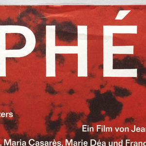 """Background: black-and-white photograph of a man's face against foliage on left, mirrored onto right, joined at center, toned red. Inscription in white, starting at top: """"ORPHEE / der Tod und die Liebe des Dichters / Ein Film von Jean Cocteau / Mit Jean Marais, Maria Casares, Marie Dea and Francois Perier/ Pradikat: besonders wertvoll/ Neue Filmkunst Walter Kirchner""""."""