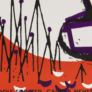"""On red background, white """"cut-outs"""" in the form in the number 3,  a large circle, and half-moon wedges in lower center. The outline of a man's profile, in top hat and with mustache, is sketched in purple and black paint. Unidentifiable objects are in the lower center, possibly, pins. Inscriptions: at top, """"die 3 groschenoper"""", at mid-right: Von Krt Weill / und bert brecht"""", and at lower left: """"mit rudolf forster, carina neher, / valeska gert, reinhold schunzel, paul kemp, / regie:  G.W.Pabst / neue filmkunst walter kirkchner""""."""