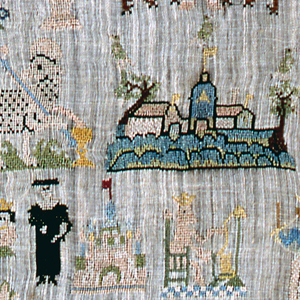 Isolated motifs with Jerusalem in the center.  Coat of arms of Hamburg.  Spinning monkey and Martin Luther.  10/cm warp and weft count.