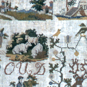 Square sampler with a grape vine border,  ANNO 1831 at the top, the initials ADI in a floral wreath flanked by putti, and the crest of the Netherlands with Gouda embroidered beneath. Surrounded by various scenes, including a tomb with a weeping willow, a shepherd with a cow and sheep, a gentleman walking with a dog, a beehive, and various birds, deer, rabbits, and baskets of flowers.