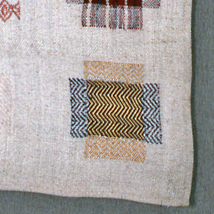 Fourteen darning crosses and one darning corner.  Name, date, and crown in center.