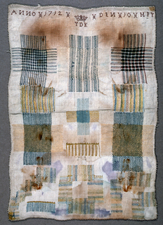Eight darning crosses; one set in patch; three repaired tears.