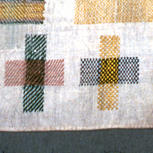 Seventeen darning crosses, central patch, four squares with needle lace.