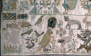 Scattered motifs of religion and hunting.