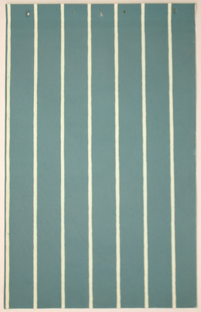 Wide blue-green vertical stripes alternating with narrow off-white stripes.