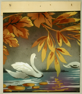 Wide frieze with two swans swimming, large pendent branch overhead. Printed in colors on taupe ground.